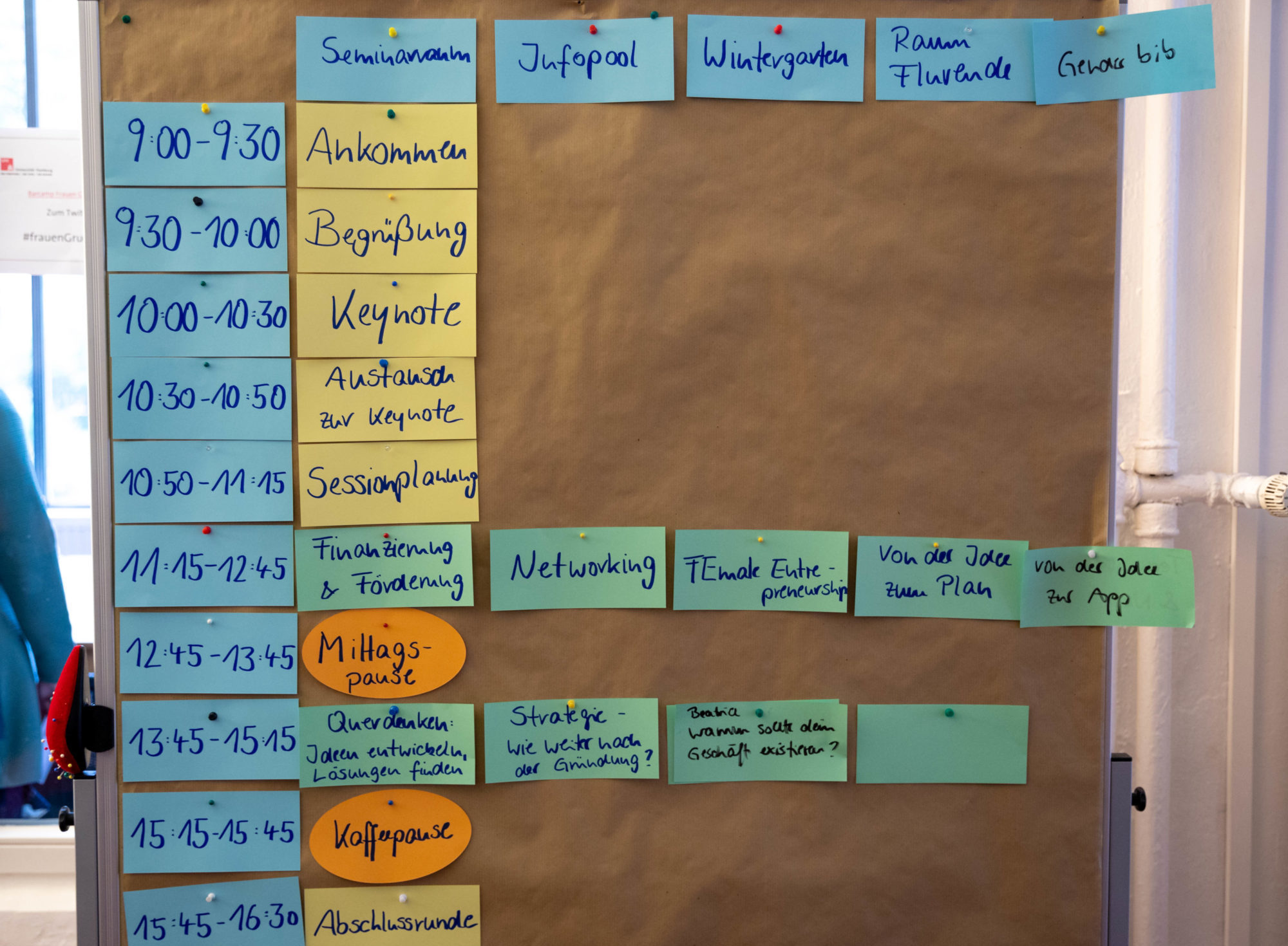 """Auf einer Pinnwand ist der Zeit- und Raumplan des Barcamps """"FrauenGründen"""" mit bunten Karten angepinnt."""